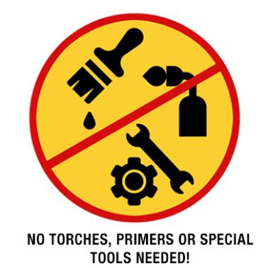 No tools needed yellow badge